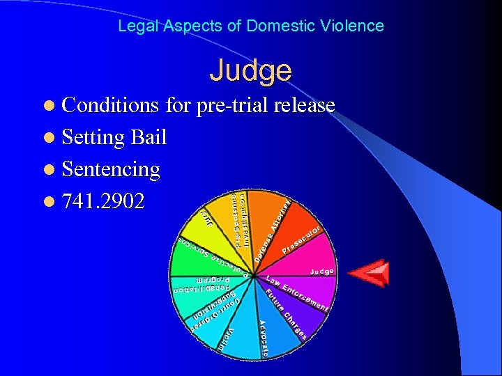 Legal Aspects of Domestic Violence Judge l Conditions for pre-trial release l Setting Bail