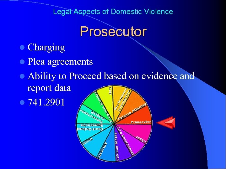 Legal Aspects of Domestic Violence Prosecutor l Charging l Plea agreements l Ability to