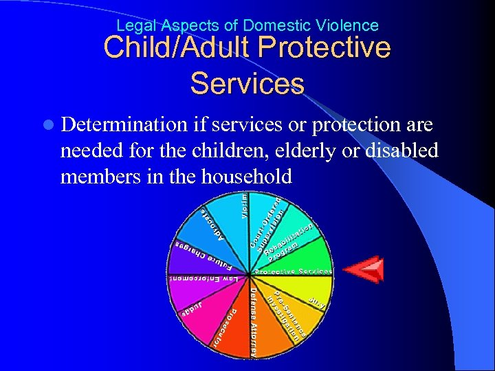 Legal Aspects of Domestic Violence Child/Adult Protective Services l Determination if services or protection