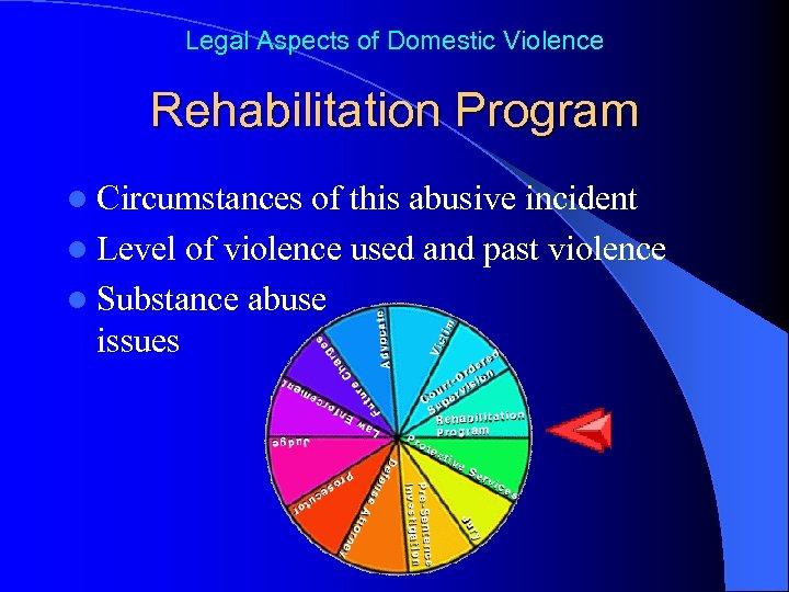Legal Aspects of Domestic Violence Rehabilitation Program l Circumstances of this abusive incident l