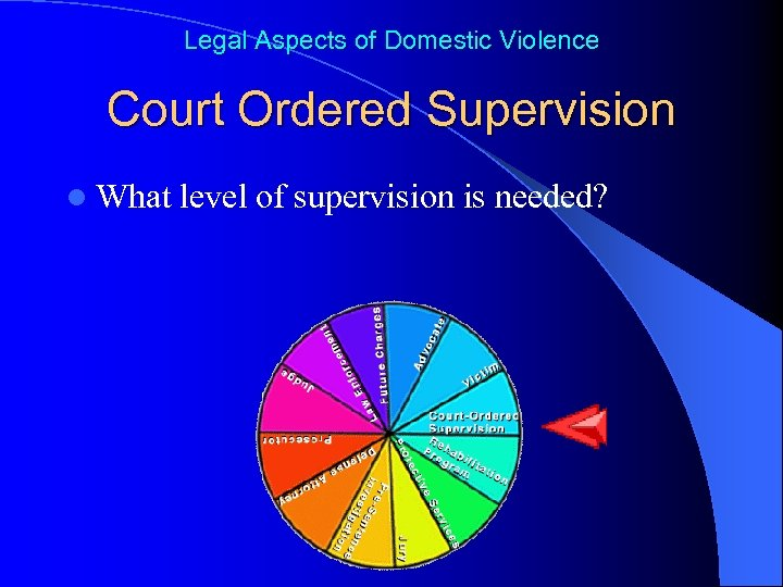 Legal Aspects of Domestic Violence Court Ordered Supervision l What level of supervision is