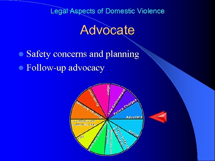Legal Aspects of Domestic Violence Advocate l Safety concerns and planning l Follow-up advocacy