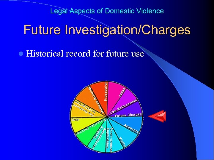Legal Aspects of Domestic Violence Future Investigation/Charges l Historical record for future use