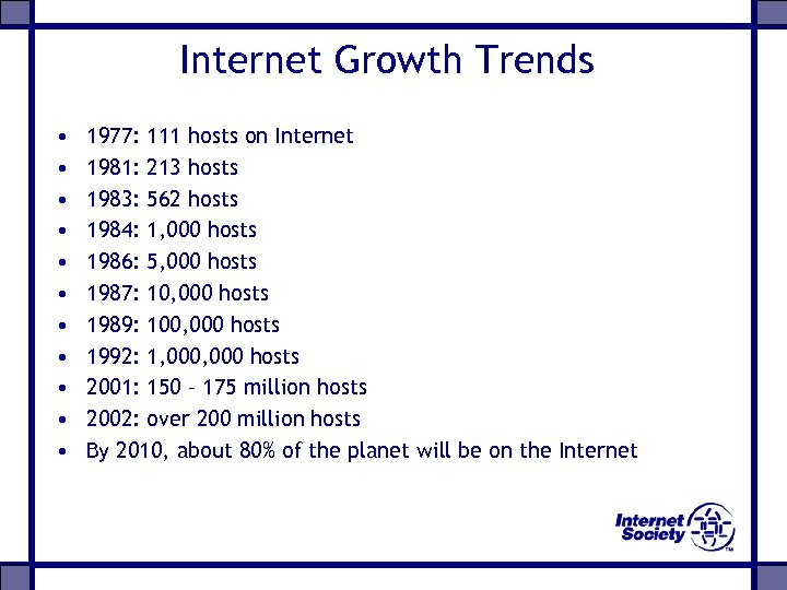 Internet Growth Trends • • • 1977: 111 hosts on Internet 1981: 213 hosts