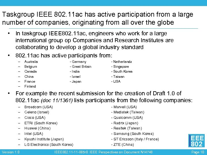Taskgroup IEEE 802. 11 ac has active participation from a large number of companies,
