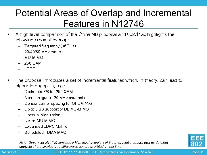 Potential Areas of Overlap and Incremental Features in N 12746 • A high level
