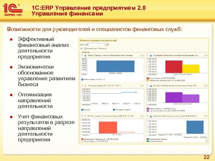 1 С: ERP Управление предприятием 2. 0 Управление финансами Возможности для руководителей и специалистов
