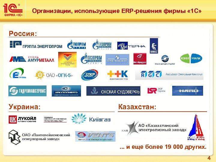 Организации, использующие ERP-решения фирмы « 1 С» Россия: Украина: Казахстан: АО «Казахстанский электролизный завод»