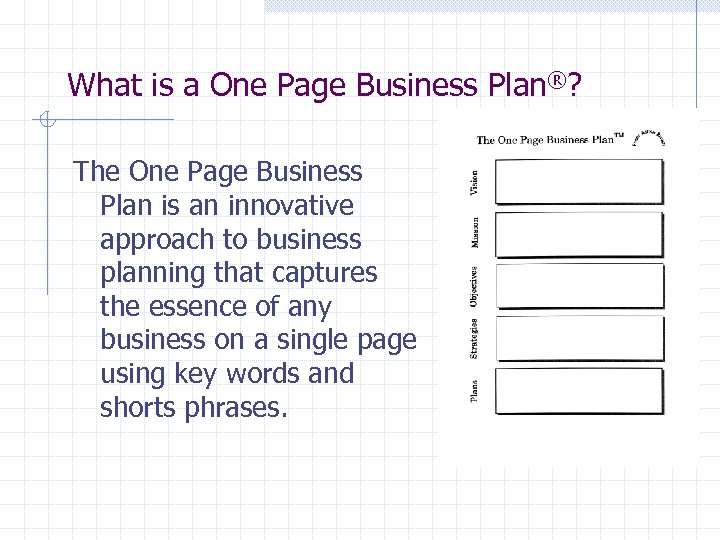 What is a One Page Business Plan®? The One Page Business Plan is an