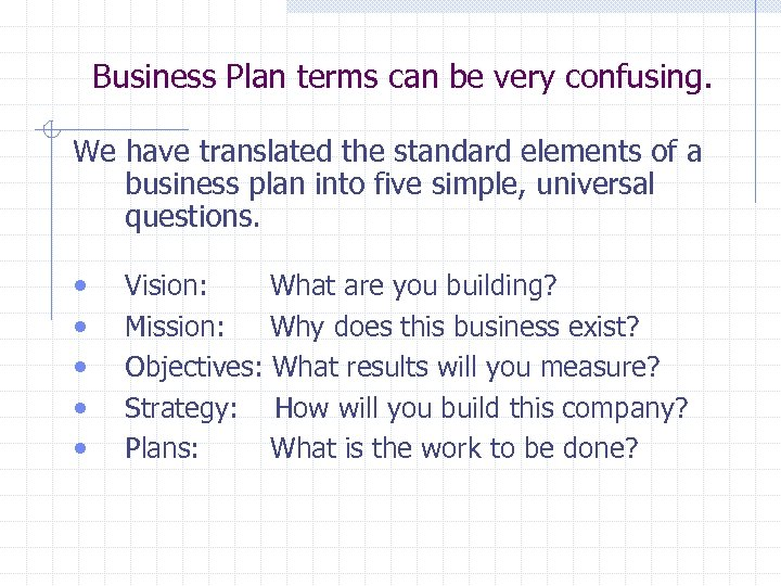 Business Plan terms can be very confusing. We have translated the standard elements of