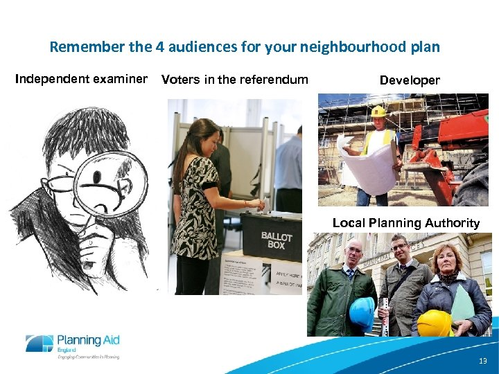 Remember the 4 audiences for your neighbourhood plan Independent examiner Voters in the referendum