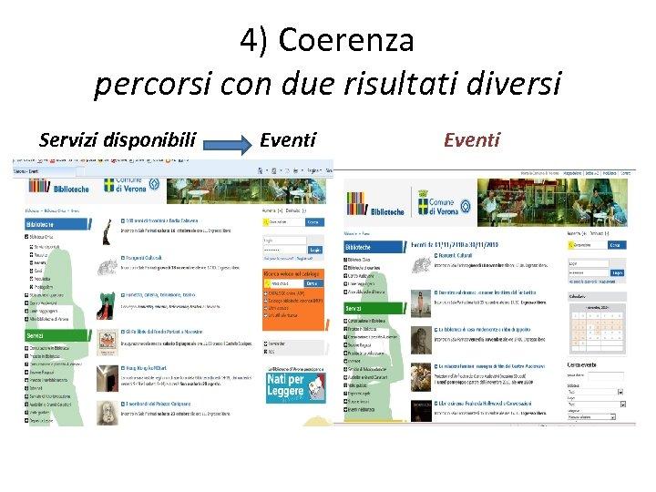 4) Coerenza percorsi con due risultati diversi Servizi disponibili Eventi