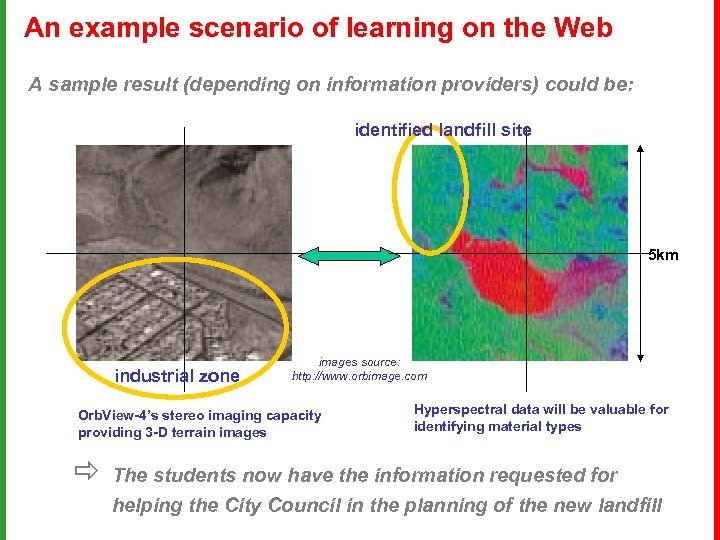 An example scenario of learning on the Web A sample result (depending on information