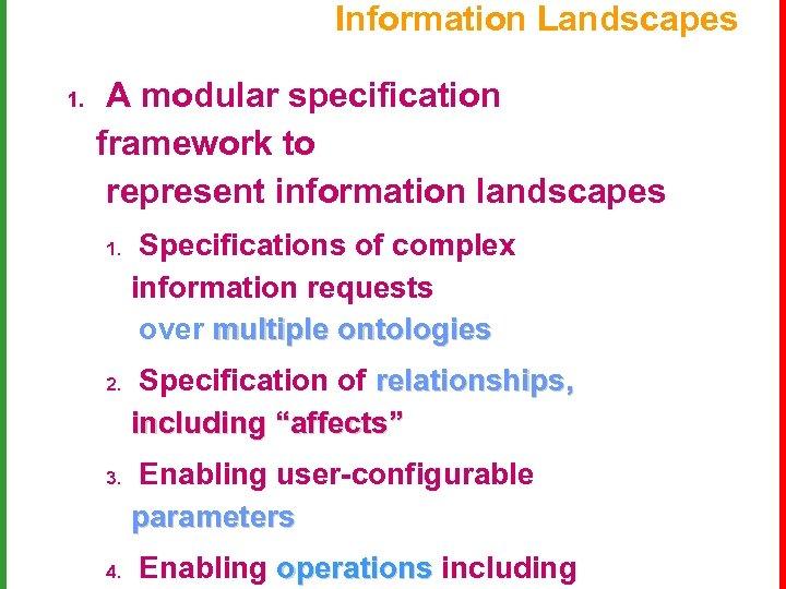 Information Landscapes 1. A modular specification framework to represent information landscapes 1. 2. 3.