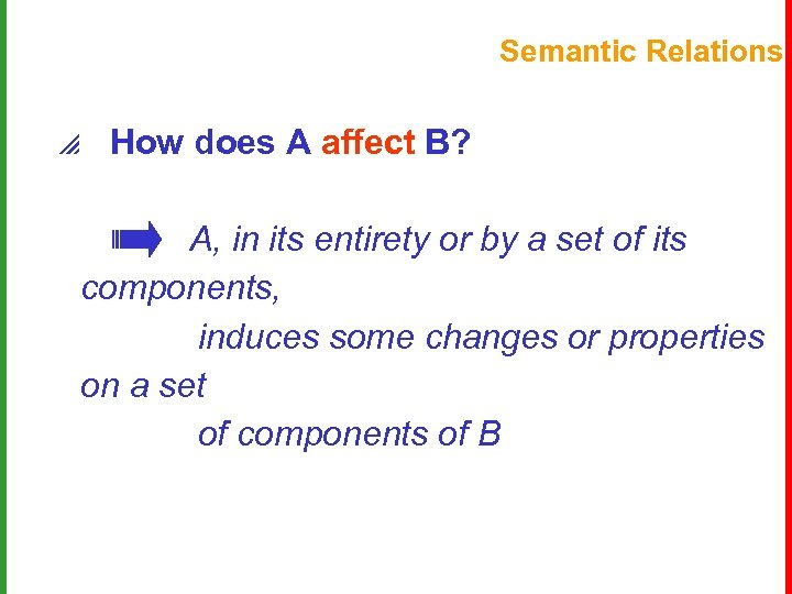 Semantic Relations p How does A affect B? A, in its entirety or by