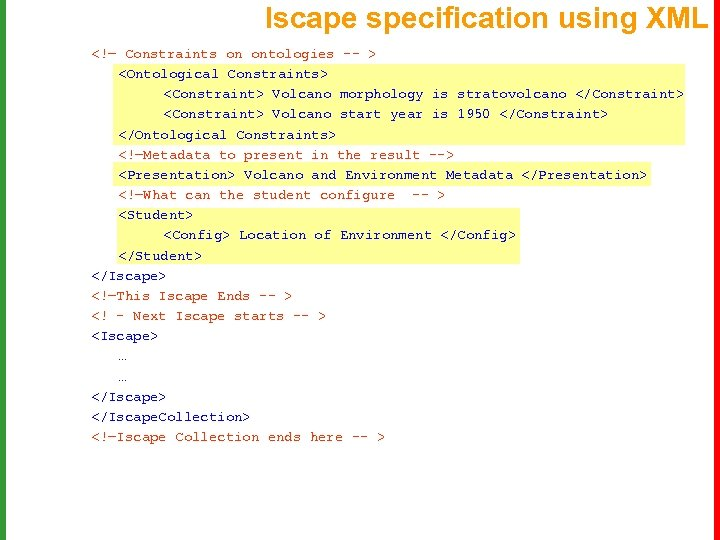 Iscape specification using XML <!— Constraints on ontologies -- > <Ontological Constraints> <Constraint> Volcano