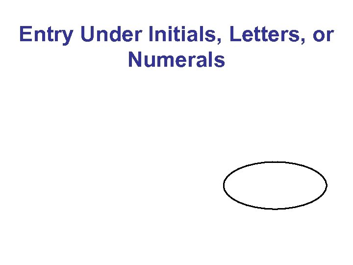 Entry Under Initials, Letters, or Numerals