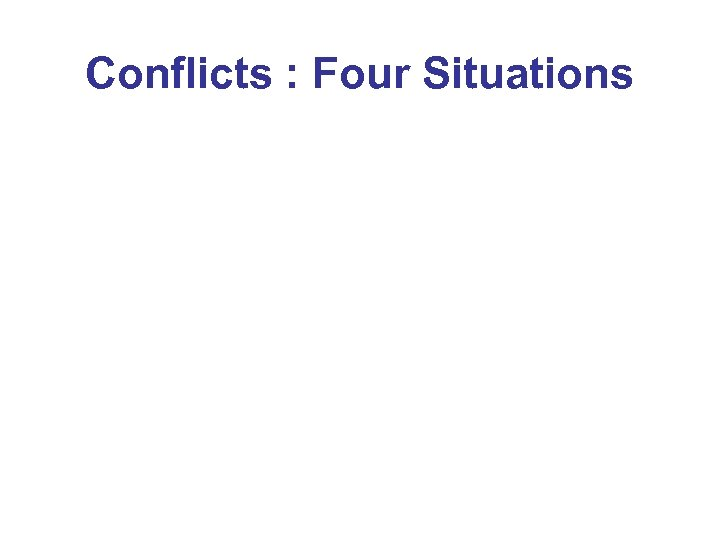 Conflicts : Four Situations
