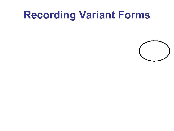 Recording Variant Forms