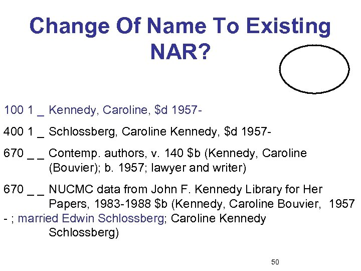 Change Of Name To Existing NAR? 100 1 _ Kennedy, Caroline, $d 1957400 1