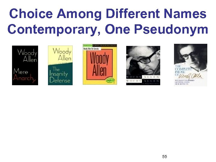 Choice Among Different Names Contemporary, One Pseudonym 55