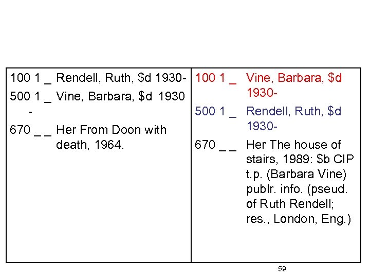 100 1 _ Rendell, Ruth, $d 1930 - 100 1 _ 500 1 _