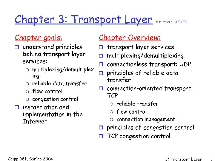 Chapter 3: Transport Layer last revised 23/03/04 Chapter goals: Chapter Overview: r understand principles