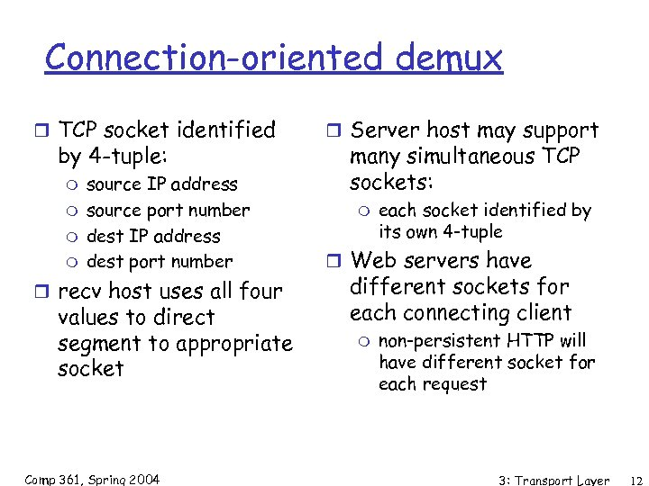 Connection-oriented demux r TCP socket identified by 4 -tuple: m m source IP address