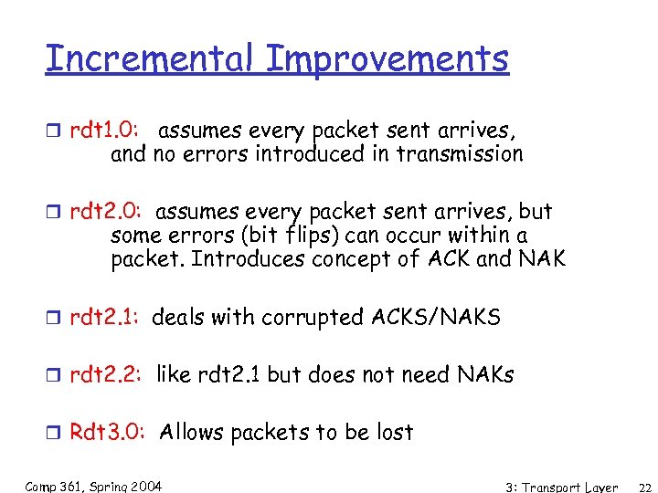 Incremental Improvements r rdt 1. 0: assumes every packet sent arrives, and no errors