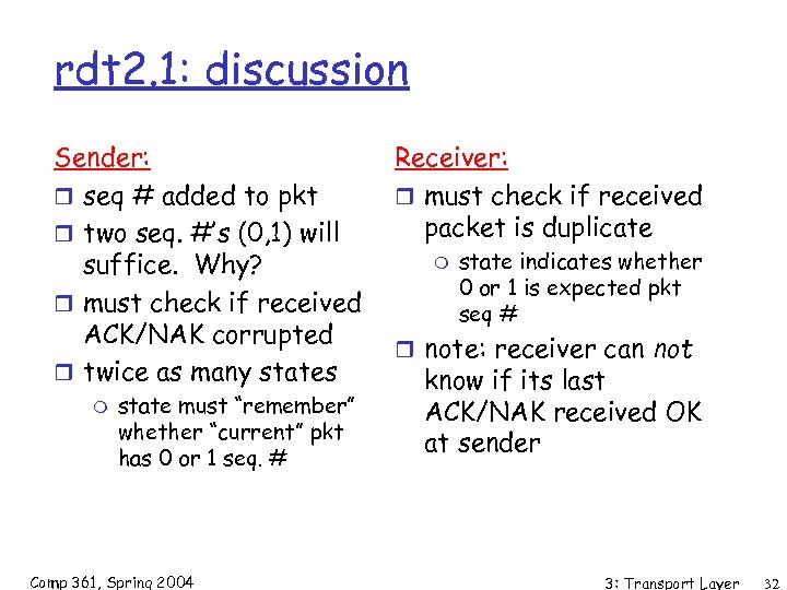 rdt 2. 1: discussion Sender: r seq # added to pkt r two seq.