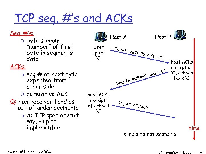"TCP seq. #'s and ACKs Seq. #'s: m byte stream ""number"" of first byte"