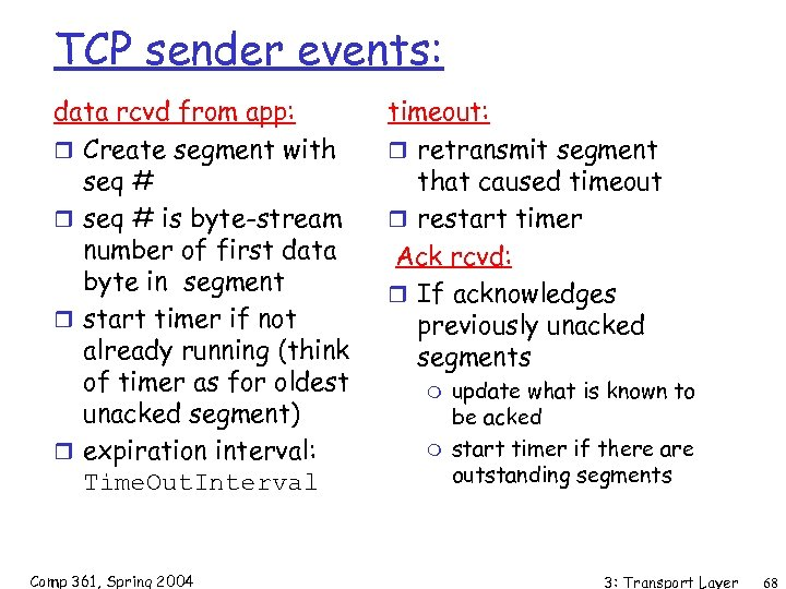 TCP sender events: data rcvd from app: r Create segment with seq # r