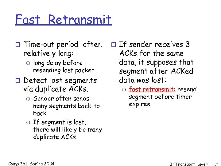 Fast Retransmit r Time-out period often relatively long: m long delay before resending lost