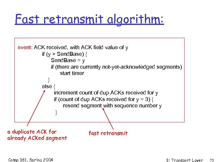 Fast retransmit algorithm: event: ACK received, with ACK field value of y if (y