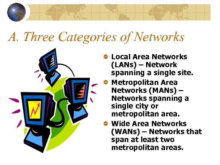 A. Three Categories of Networks Local Area Networks (LANs) – Network spanning a single