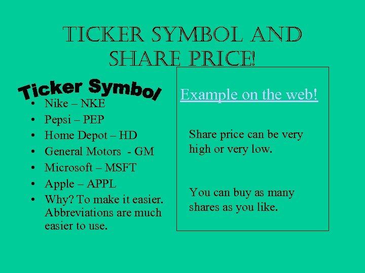 Ticker Symbol and Share Price! • • Nike – NKE Pepsi – PEP Home