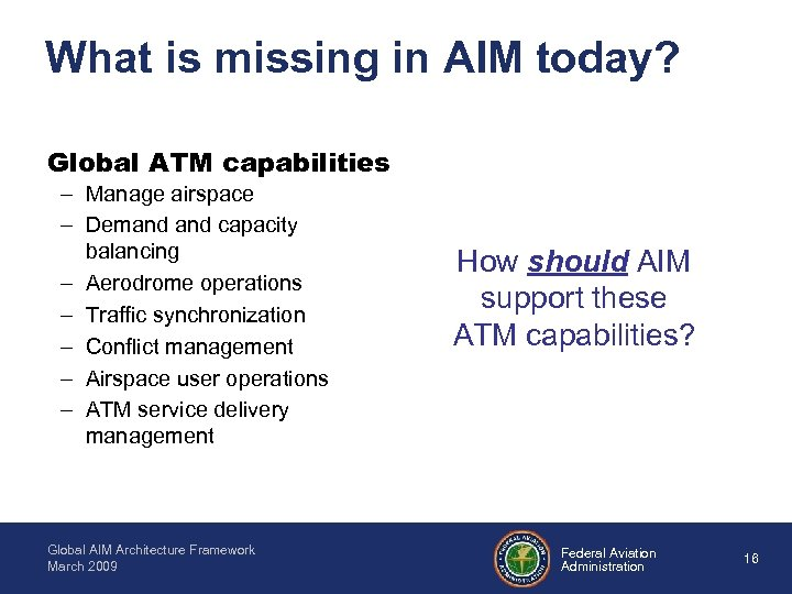 What is missing in AIM today? Global ATM capabilities – Manage airspace – Demand