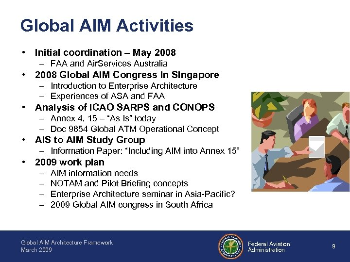 Global AIM Activities • Initial coordination – May 2008 – FAA and Air. Services
