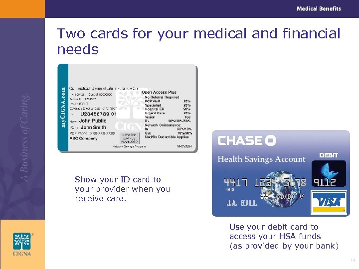 Two cards for your medical and financial needs Show your ID card to your