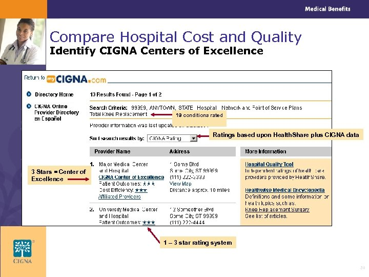 Compare Hospital Cost and Quality Identify CIGNA Centers of Excellence 19 conditions rated Ratings