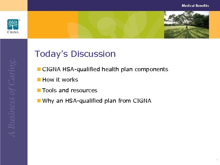 Today's Discussion n CIGNA HSA-qualified health plan components n How it works n Tools