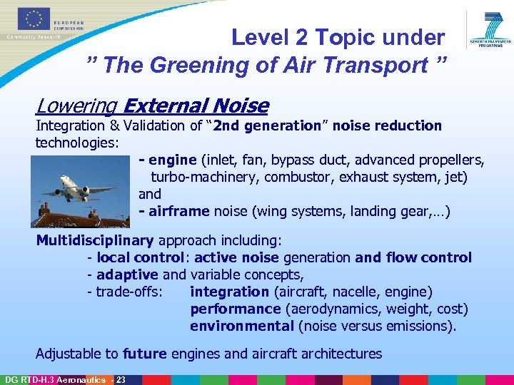 "Level 2 Topic under "" The Greening of Air Transport "" Lowering External Noise"