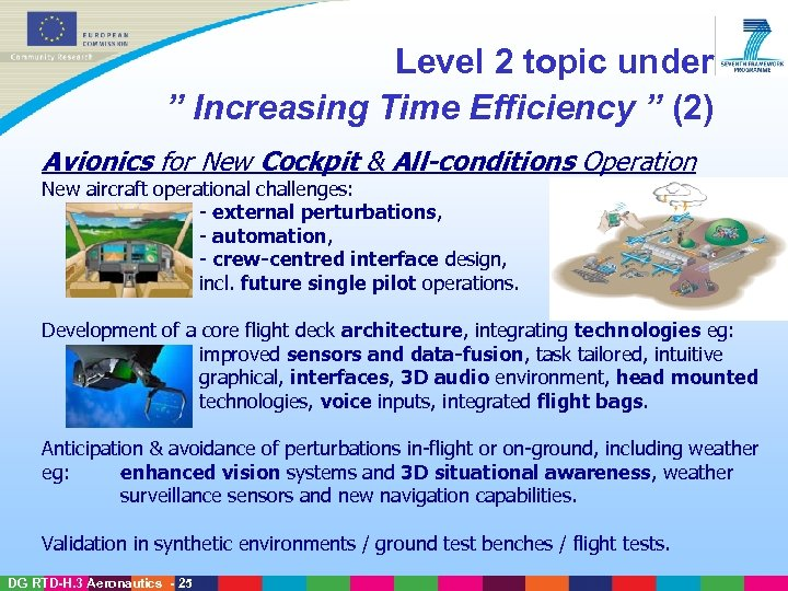 "Level 2 topic under "" Increasing Time Efficiency "" (2) Avionics for New Cockpit"