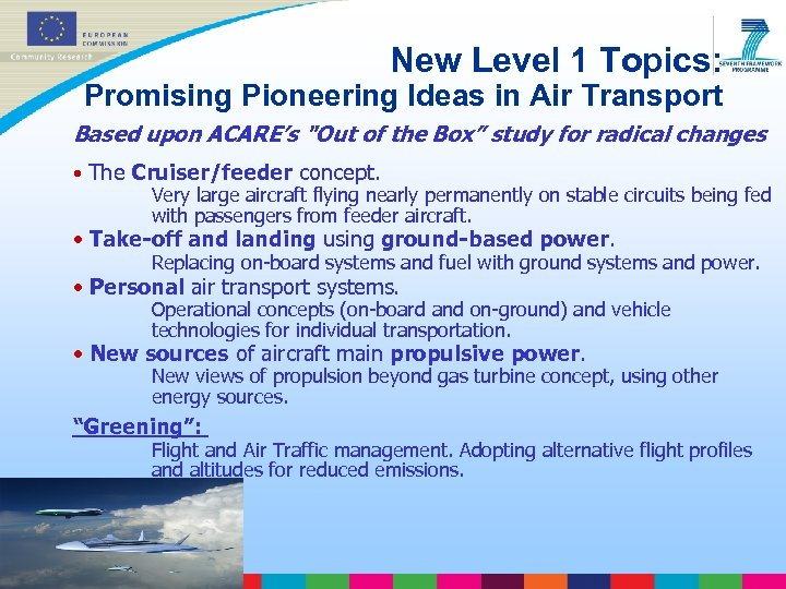 New Level 1 Topics: Promising Pioneering Ideas in Air Transport Based upon ACARE's