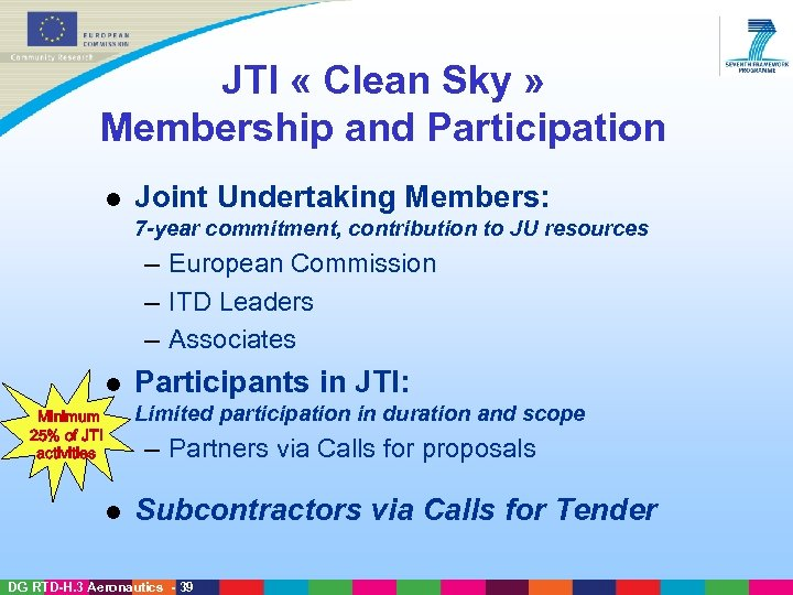 JTI « Clean Sky » Membership and Participation l Joint Undertaking Members: 7 -year