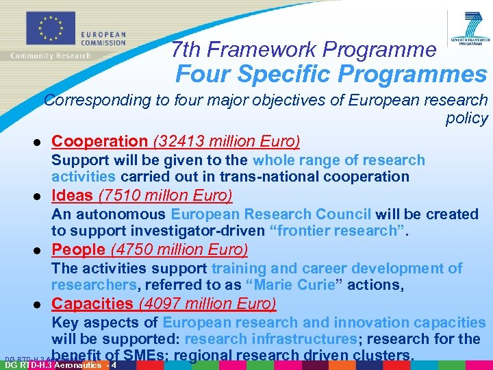 7 th Framework Programme Four Specific Programmes Corresponding to four major objectives of