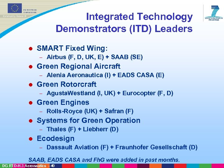 Integrated Technology Demonstrators (ITD) Leaders l SMART Fixed Wing: – l Green Regional Aircraft
