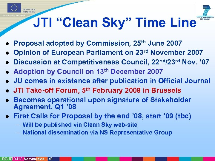 "JTI ""Clean Sky"" Time Line l l l l Proposal adopted by Commission, 25"