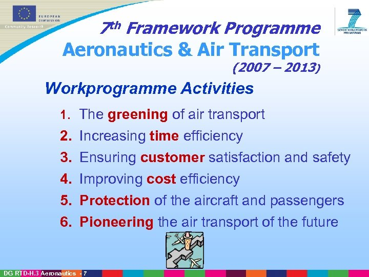 7 th Framework Programme Aeronautics & Air Transport (2007 – 2013) Workprogramme Activities 1.