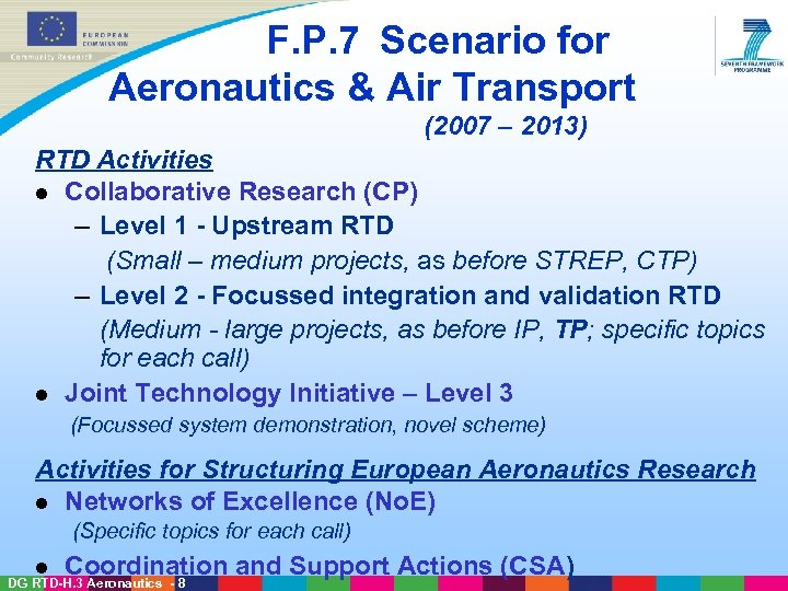 F. P. 7 Scenario for Aeronautics & Air Transport (2007 – 2013) RTD Activities